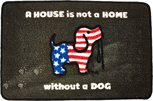 Pavilion Gift Company 24557 American Flag 27.5 x 17.75-inch Door Mat A House is Not A Home Without A Dog-Puppie Love, Grey