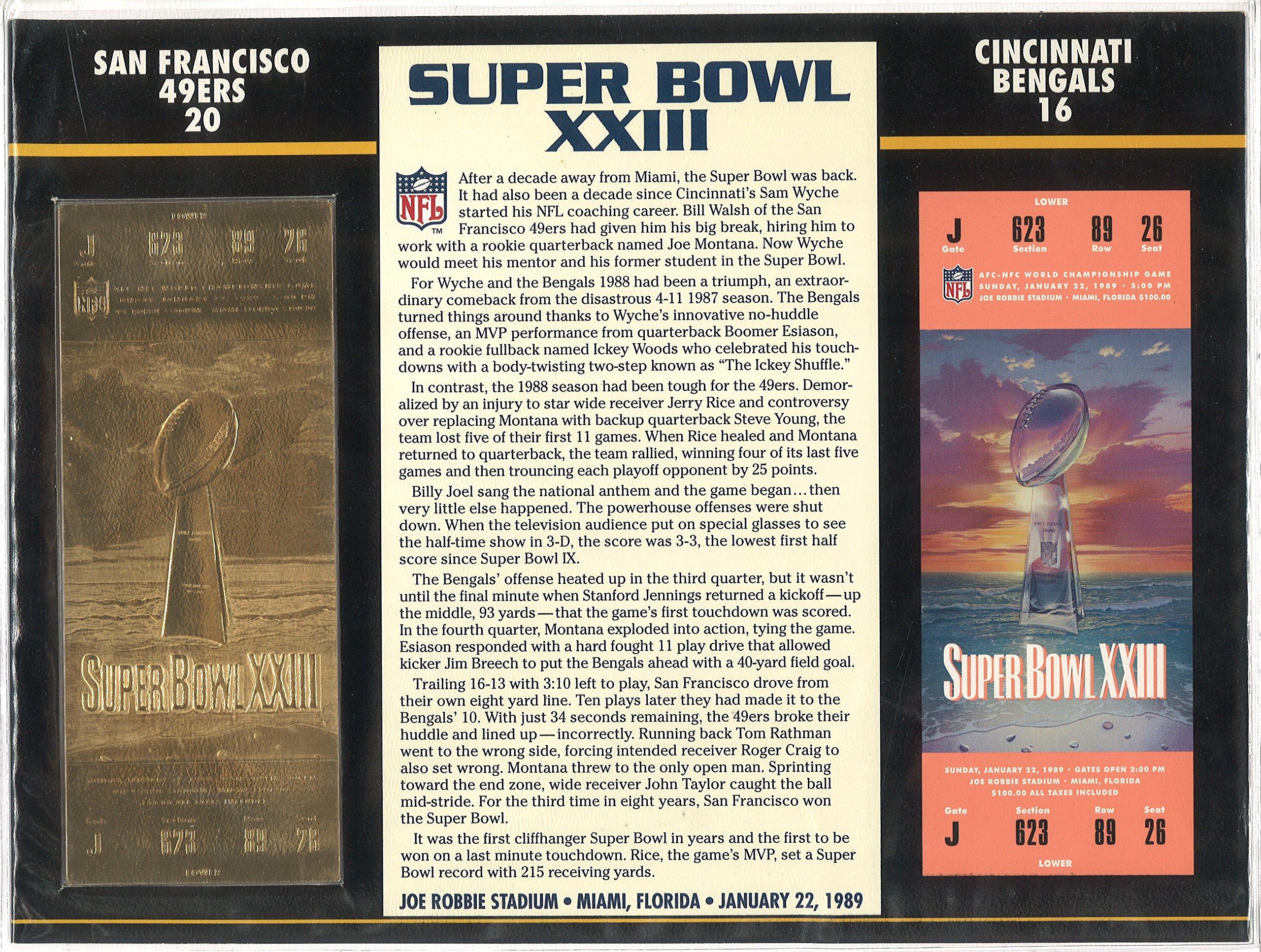 Super Bowl XXIII Golden Ticket San Francisco 49ers vs Cincinnati Bengals January 22, 1989