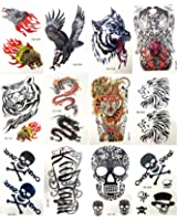 12 sheets temporary tattoo stickers rub on tattoos for adults