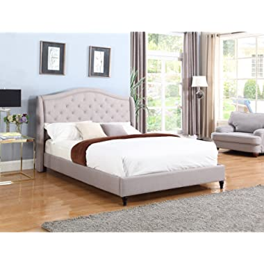 Home Life Cloth Light Grey Silver Linen Curved Hand Diamond Tufted and Nailed Headboard 53  Tall Headboard Platform Bed with Slats King - Complete Bed 5 Year Warranty Included 013