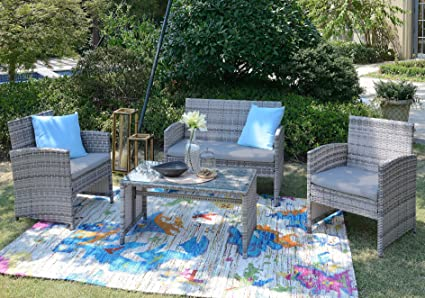 Amazon Com Homewell 4pc Wicker Patio Furniture Set Cushioned