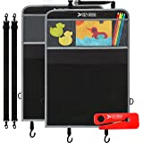 Car Seat Organizer for Kids | Kick Mats | Car Seat Protector for Back of Carseat | 2 Pack Child Kicking Mat Protectors | FREE Seat Belt Cutter | Superior Design & Materials | Mesh Pockets | Universal