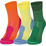 Merino Wool Light Crew Socks for Performance, Outdoor, Hiking & Trekking by Danish Endurance, Temperature Controlled for Spring and Summer, Mid Length Quarter 1/4, Hiker Socks with Padded Cushion to Reduce Blisters, Men & Women (3 or 1 Pairs)