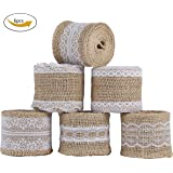 Burlap Ribbon Roll Natural Jute with White Lace Trims, Burlap Fabric for Arts Crafts Homemade DIY Projects Gift Wrapping Christmas Decorations 79 inches Long, 6 Packs