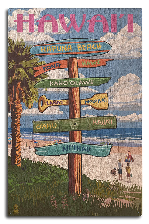 Hapunaビーチ、Hawai ' i – Destination Signpost 10 x 15 Wood Sign LANT-56319-10x15W 10 x 15 Wood Sign  B07369SPM9