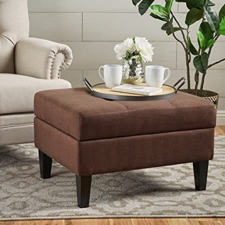 Christopher Knight Home 301489 Living Bridger Dark Cinnamon Fabric Storage Ottoman, Brown