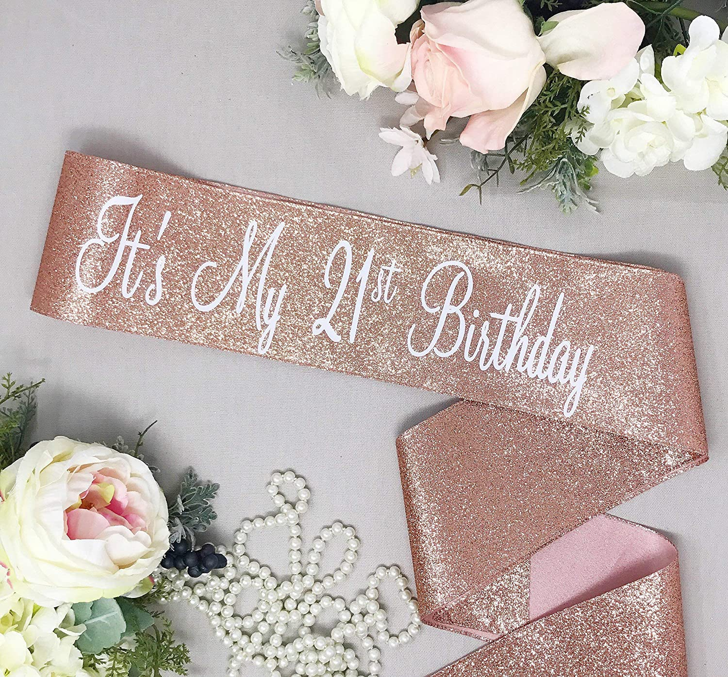 Amazon com: It's My 21st Birthday - Rose Gold Glitter