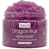 Amire Dragon Fruit Jelly Exfoliating Body Scrub Polish, Exfoliate Dry, Dehydrated, and Dead Skin, Improve Body Skin Texture a