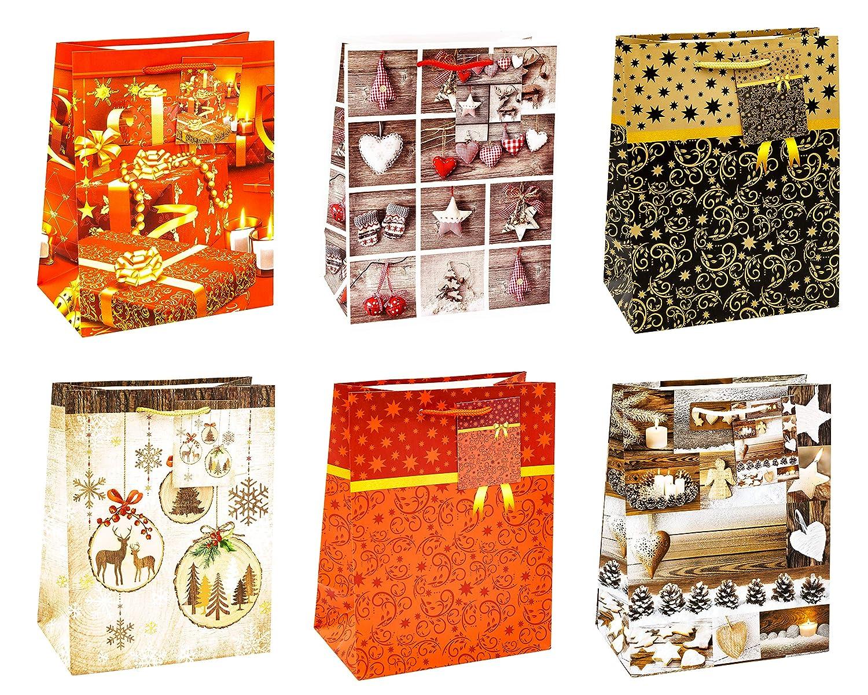 Confezione da 12 Pezzi 6 Motivi di Natale TSI 83019 Sacchetti da Regalo Misura 23 X 18 X 10 Cm