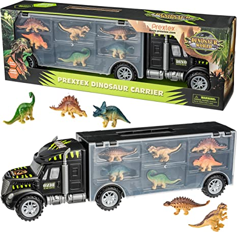 Dinosaur Carrier Truck with 12 Dinosaurs and 13 Vehicles Dino Park Pretend Play