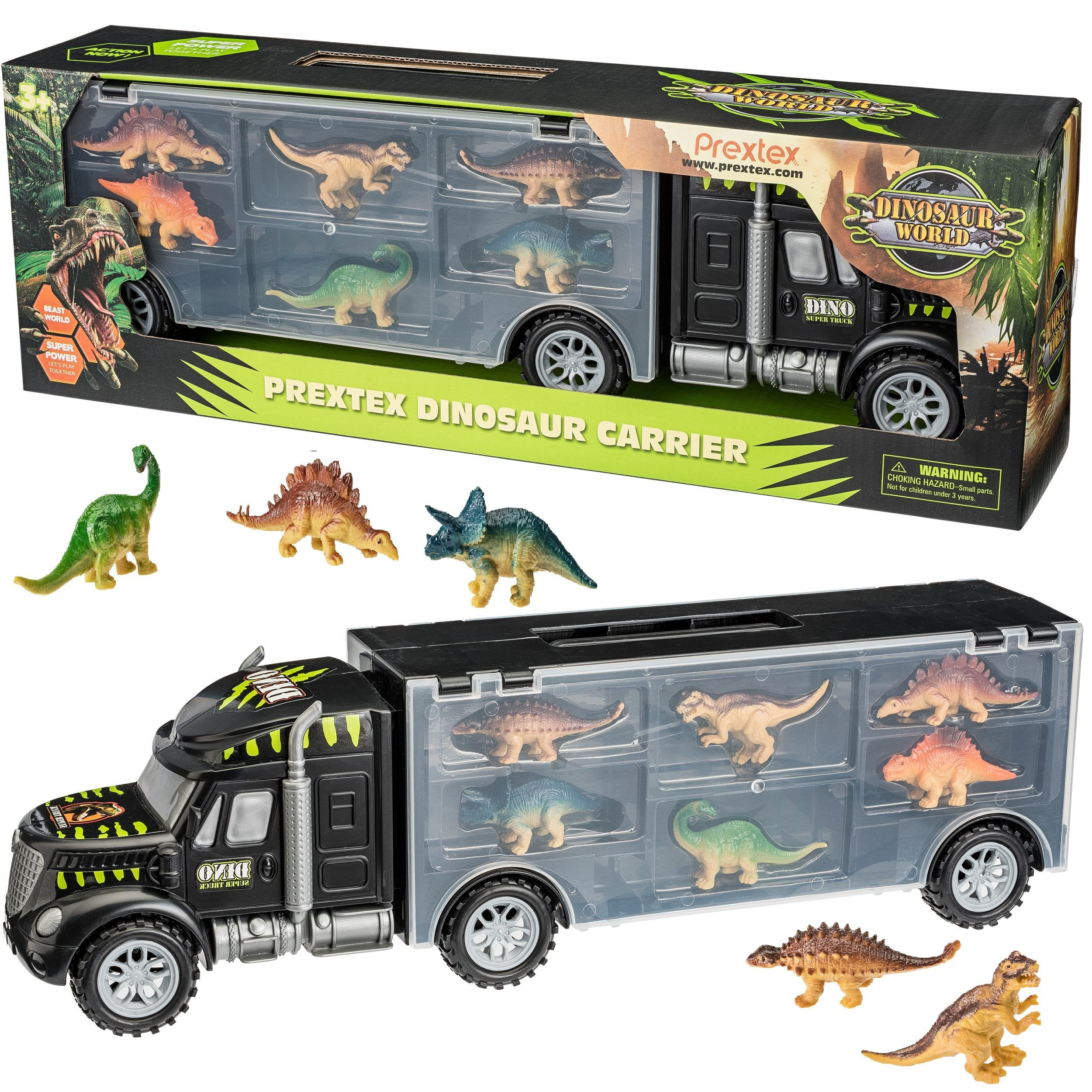 "Prextex 16"" Tractor Trailer Dinosaur Carrier with 6 Mini Plastic Dinosaurs"