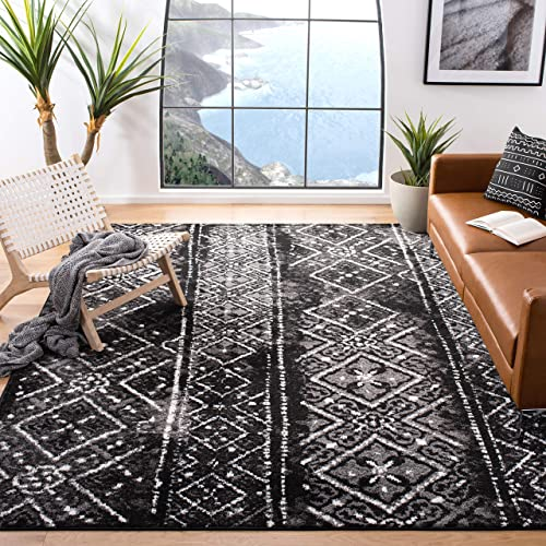 Safavieh Adirondack Collection ADR111C Black and Silver Contemporary Bohemian Distressed Area Rug 9 x 12