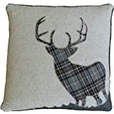 Tartan Stag 18 Inch Black & Grey Cushion Cover Soft Woven Tweed Wool Fabric