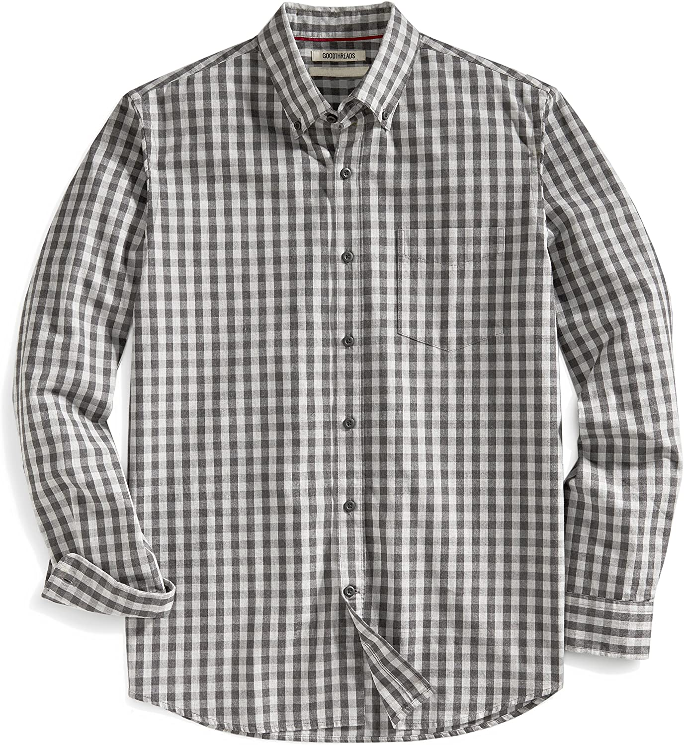Goodthreads Mens Standard-Fit Long-Sleeve Large-Scale Gingham Shirt