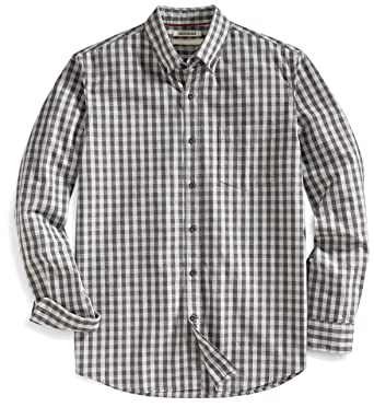 Goodthreads Mens Standard Fit Long Sleeve Gingham Slub Shirt Grey Heather Small