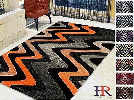Hr Orange Grey Silver Black Abstract Area Rug Modern Contemporary Zigzag Wave Design 5 X 7