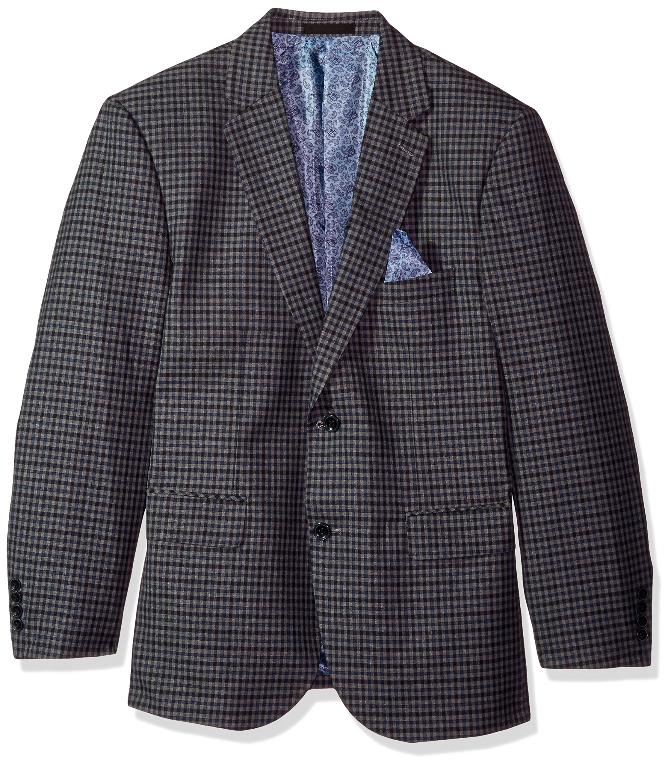 Alexander Julian Colours Men's Big and Tall Single Breasted Modern Fit Check Suit Jacket, Grey/Blue, 56 Long