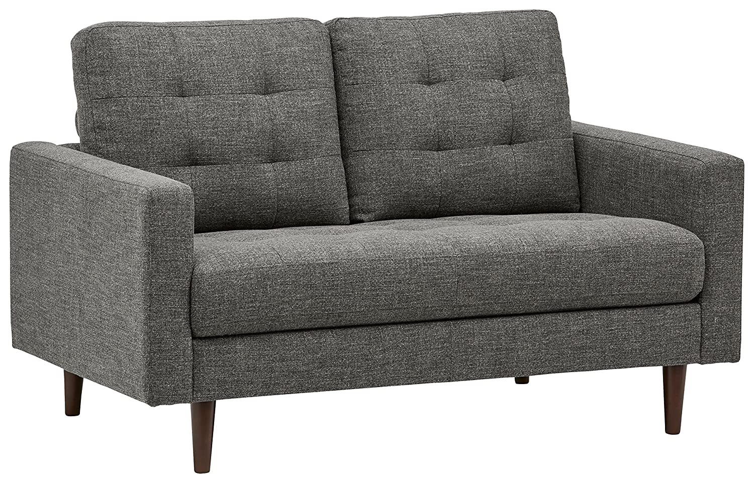 Marvelous Rivet Cove Mid Century Modern Tufted Loveseat Couch 56W Dark Grey Bralicious Painted Fabric Chair Ideas Braliciousco