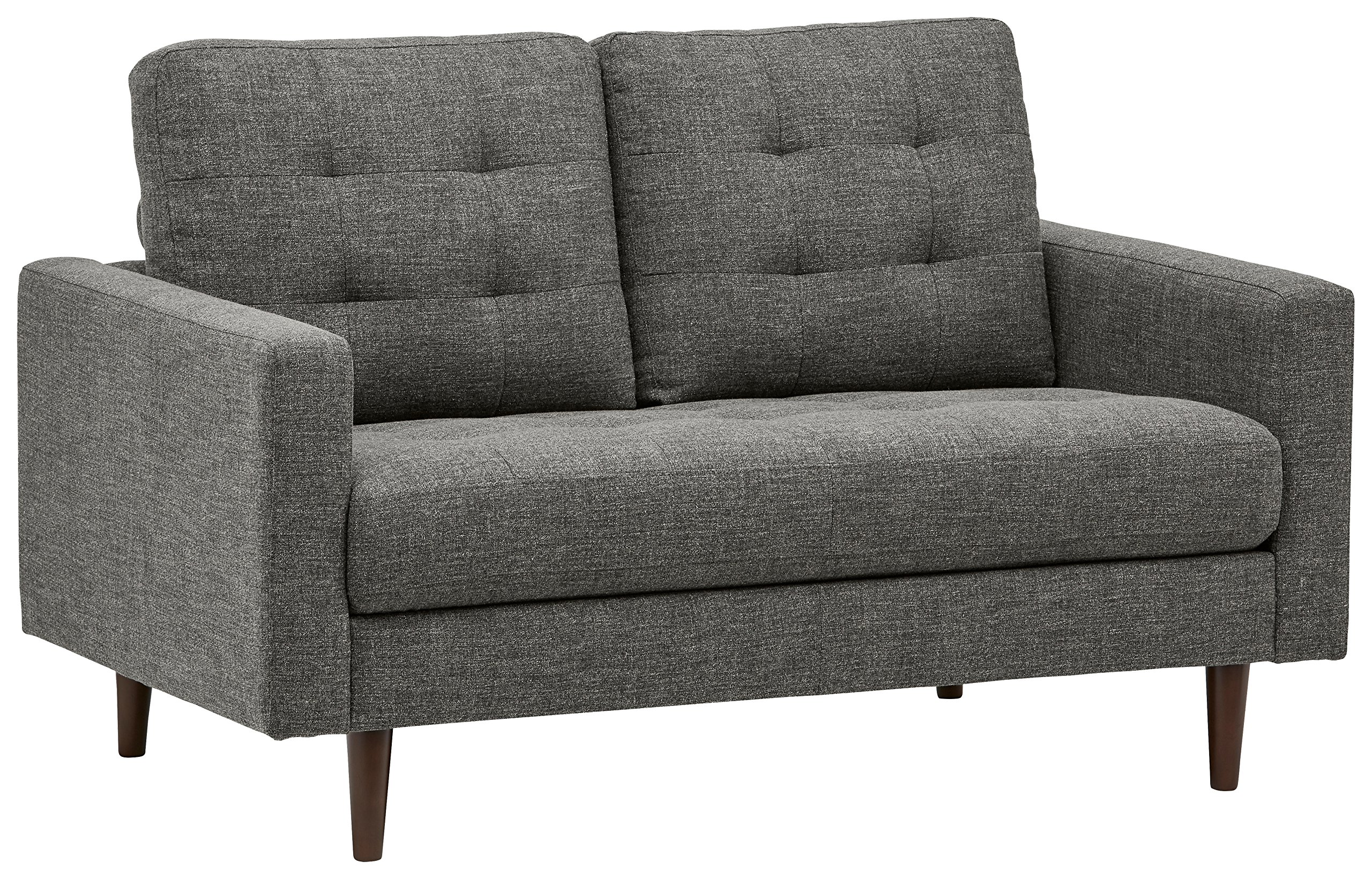 Rivet Cove Modern Tufted Loveseat with Tapered Legs, Mid-Century, 56''W, Dark Grey by Rivet