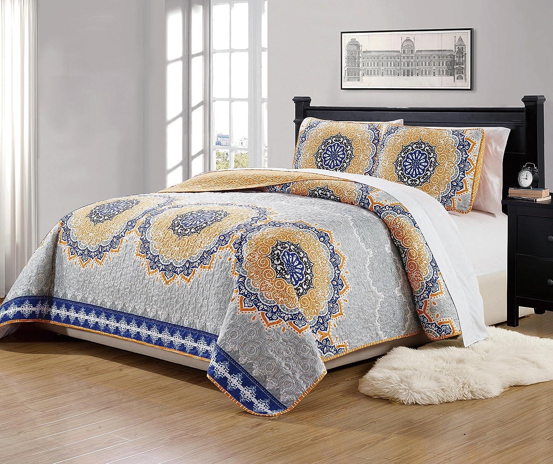 "MK Home Mk Collection 3pc Full/Queen Size Bedspread Quilt Over size 106"" x 95"" Orange Coastal Plain Grey Green White Blue Elegant Design # Oslo Orange"