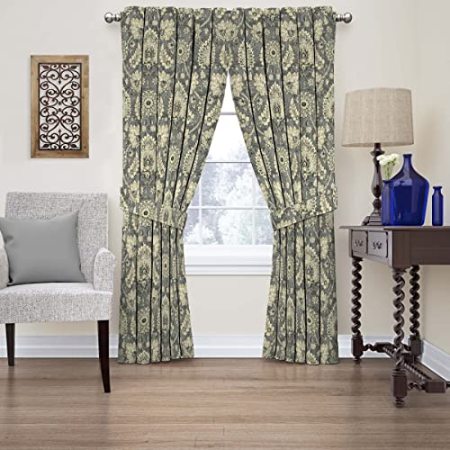 WAVERLY Curtains for Bedroom – Clifton Hall 52 x 84 Decorative Single Panel-Rod Pocket Window Treatment Privacy Curtains for Living Room, Flax