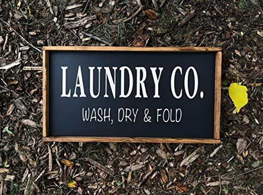 Thomas655 Laundry Co - Cartel Decorativo de Madera Hecho a ...