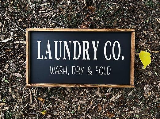 Thomas655 Laundry Co - Cartel Decorativo de Madera Hecho a ...