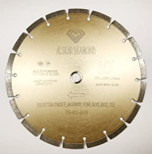 "ALSKAR DIAMOND ADLSS 10 inch Dry or Wet Cutting General Purpose Power Saw Segmented Diamond Blades for Concrete Stone Brick Masonry (10"")"