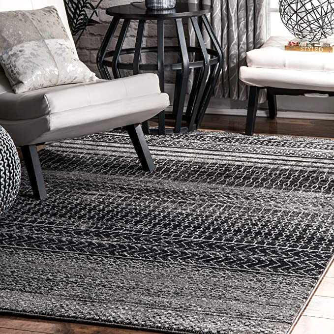 Amazon.com: Contemporáneo Banded Abacus rayas alfombra ...