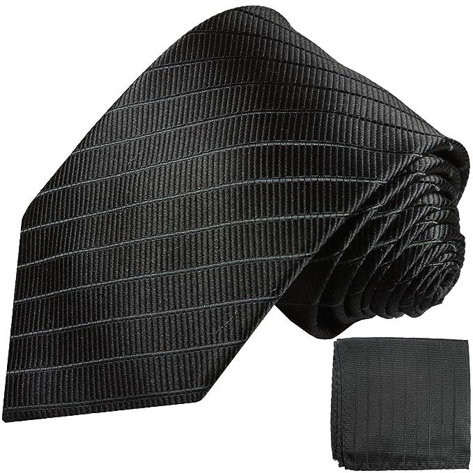 P.M. Krawatten Paul Malone Corbata de seda negro + pañuelo: Amazon ...