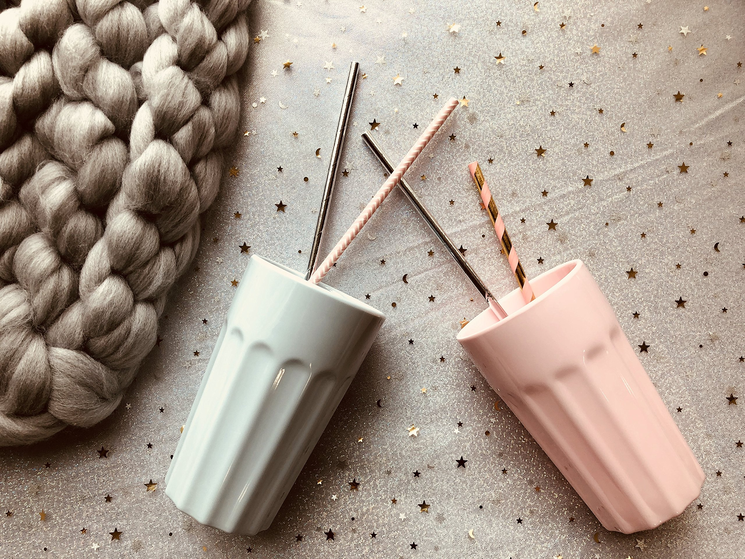 TP up! Unbreakable Melamine Plastic 13.5oz Large Cups,Mixed Colors,Set of 2 (Violet&Grey)
