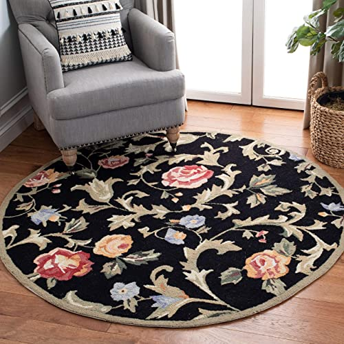 Safavieh Chelsea Collection HK310B Hand-Hooked Black Premium Wool Round Area Rug 3' Diameter