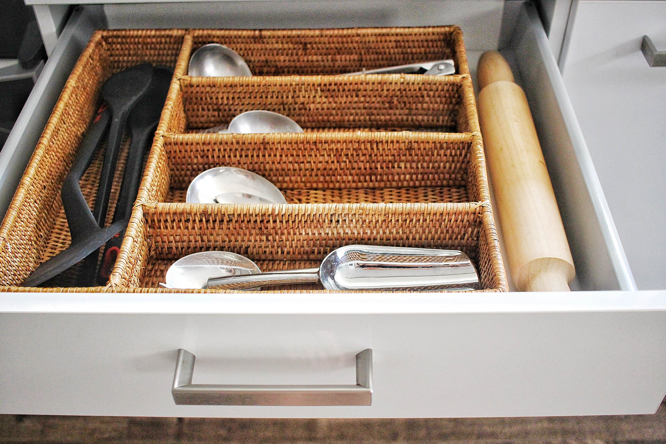 Artifacts Trading Company Rattan 5 Section Cutlery Tray, 16'' L x 15'' W x 3'' H by Artifacts Trading Company (Image #4)
