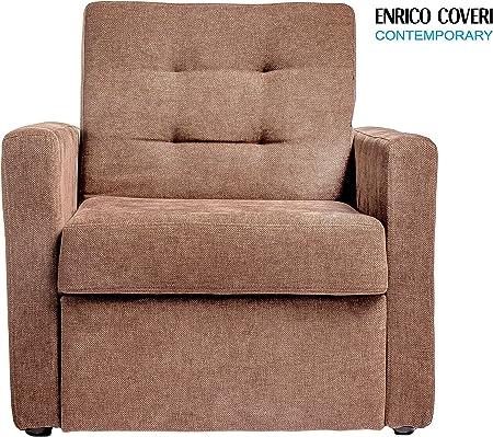 Enrico Coveri Contemporary Poltrona reclinabile a letto ideale per allietare il vostro riposo in salotto e arredare la vostra casa o il vostro ufficio Dimensioni 81 x 88 x 84 Cm Beige