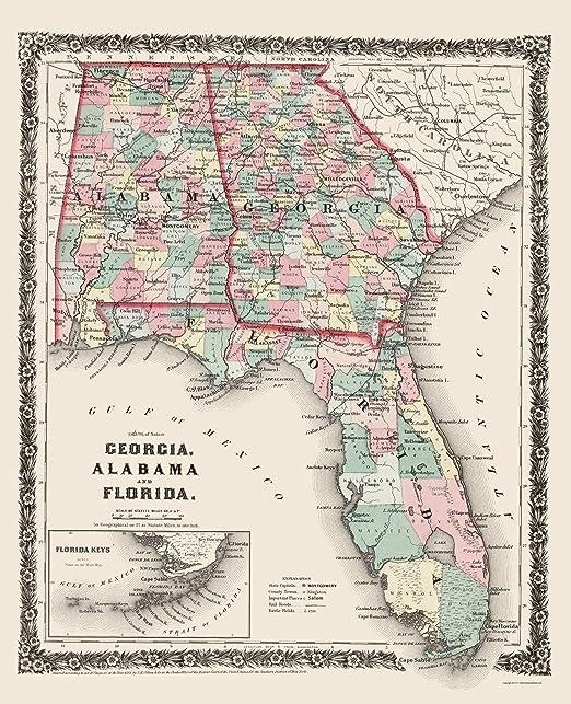 Colton 1858-23 x 28.34 Florida Alabama Georgia