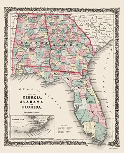 Map Of Georgia Florida And Alabama.Amazon Com Old State Map Georgia Alabama Florida Colton 1858