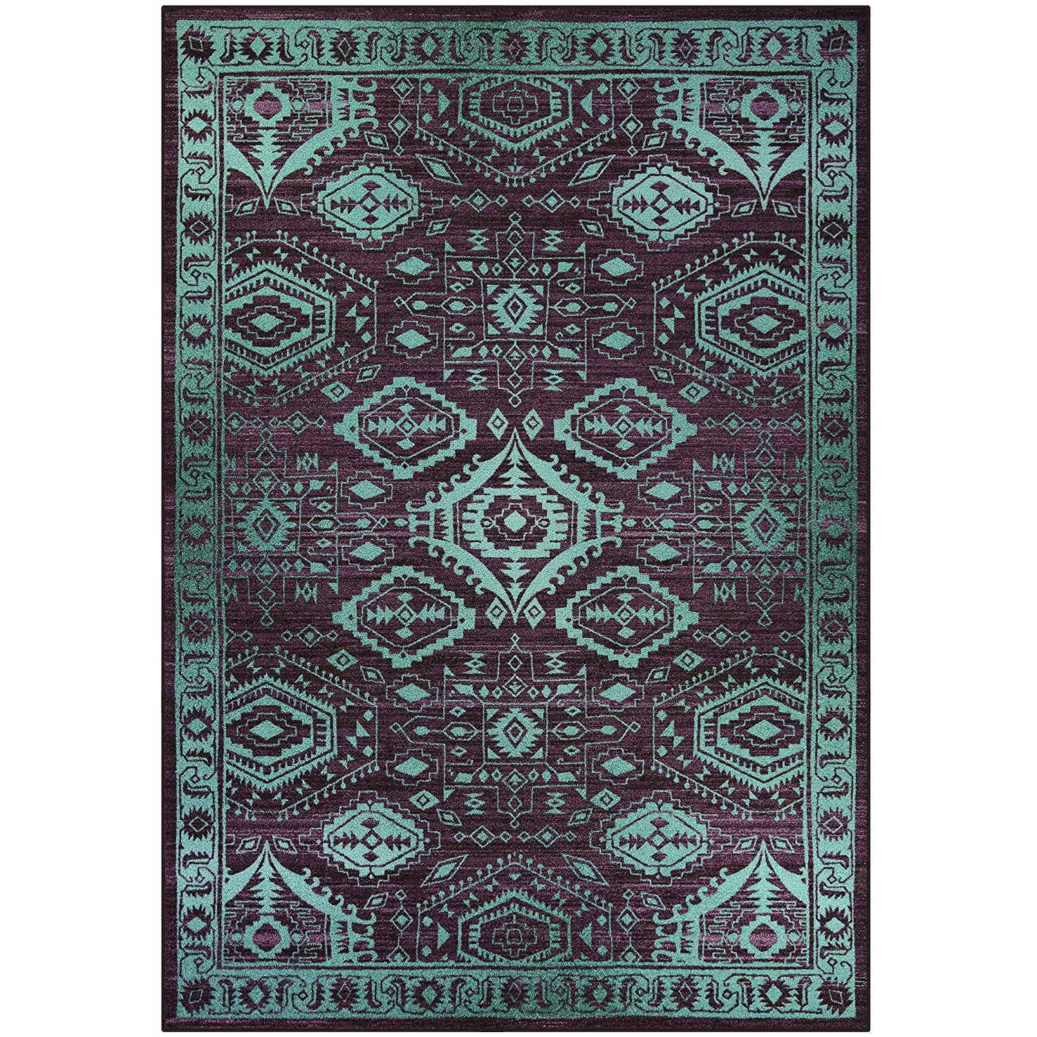 Runner Rug, Maples Rugs [Made in USA][Georgina] 2' x 6' Non Slip Hallway Entry Area Rug for Living Room, Bedroom, and Kitchen - Wineberry/Teal Runner Rug -Georgina