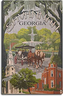 product image for Lantern Press Savannah, Georgia - Town Views (10x15 Wood Wall Sign, Wall Decor Ready to Hang)