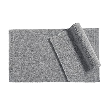 AmazonBasics Everyday Cotton Bath Rug, 17  x 24 , Set of 2, Powder Grey