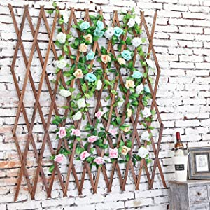 MyGift Wood Lattice Garden Trellis, Plant Display Screen w/Adjustable Width, Dark Brown