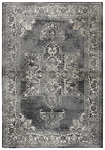 Rizzy Home Panache Collection Polypropylene Area Rug, 3 3 x 5 3 , Gray Black Taupe Natural Ivory Central Medallion Distress