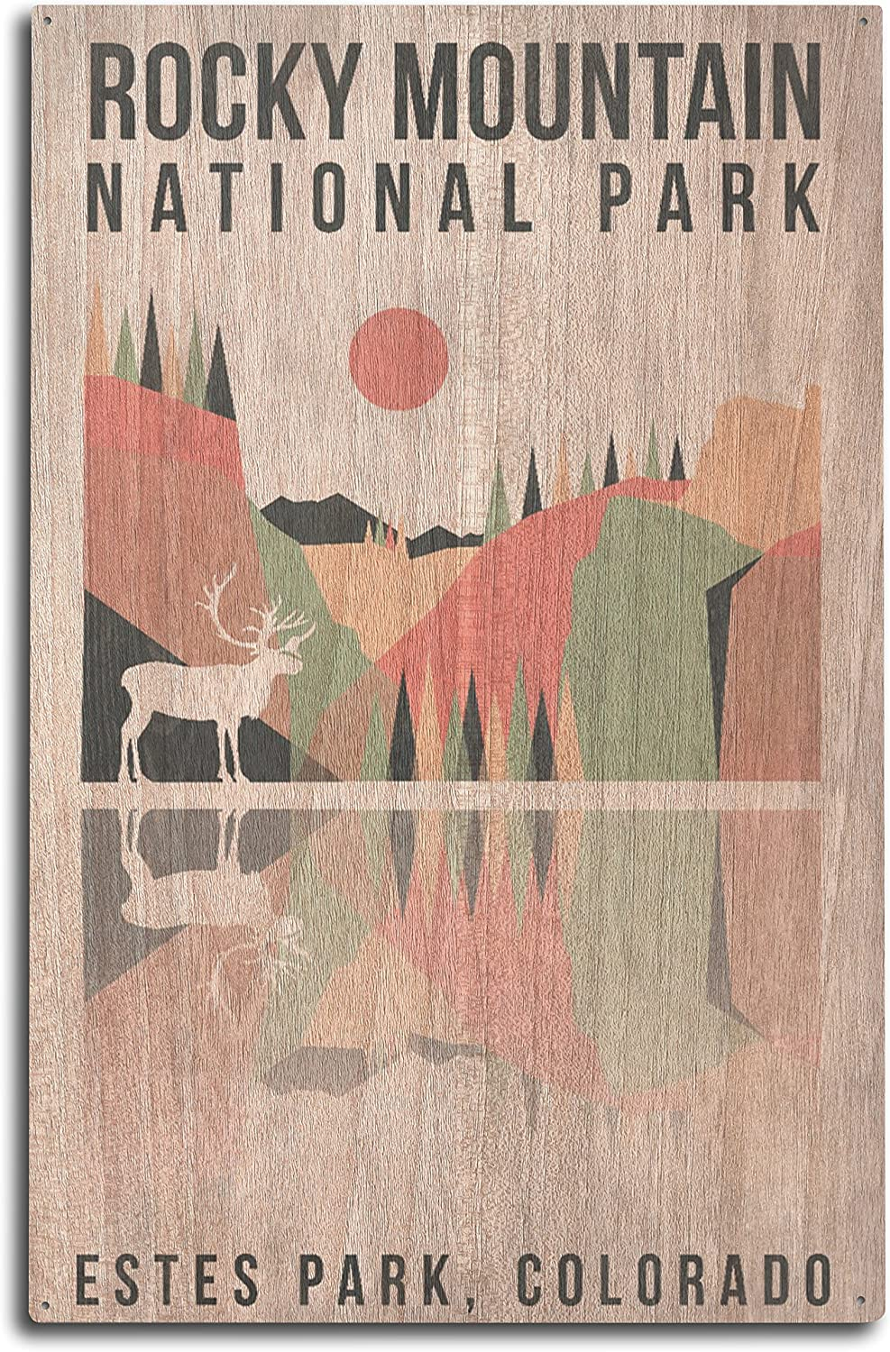 Lantern Press Rocky Mountain National Park - Estes Park, Colorado - Elk - Geometric Opacity (10x15 Wood Wall Sign, Wall Decor Ready to Hang)