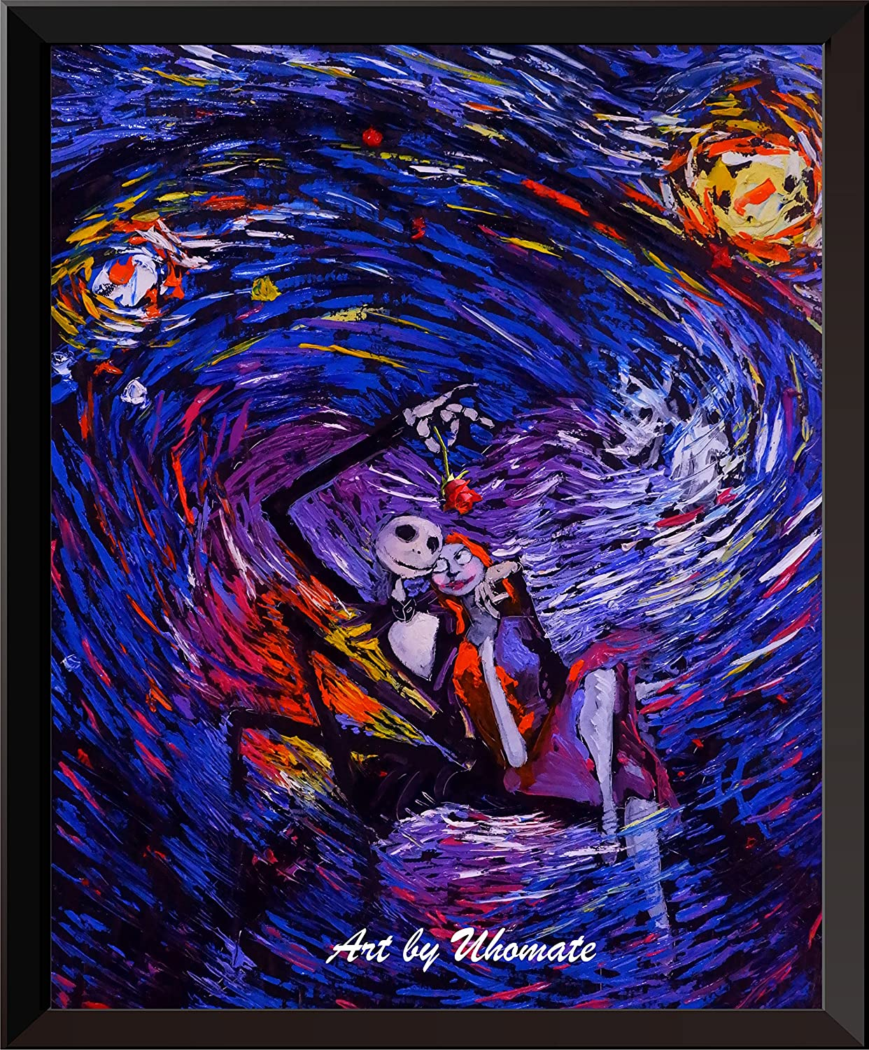 Uhomate Jack Sally Jack and Sally Nightmare Before Christmas Vincent Van Gogh Starry Night Posters Home Canvas Wall Art Baby Gift Nursery Decor Living Room Wall Decor A015 (11X14)