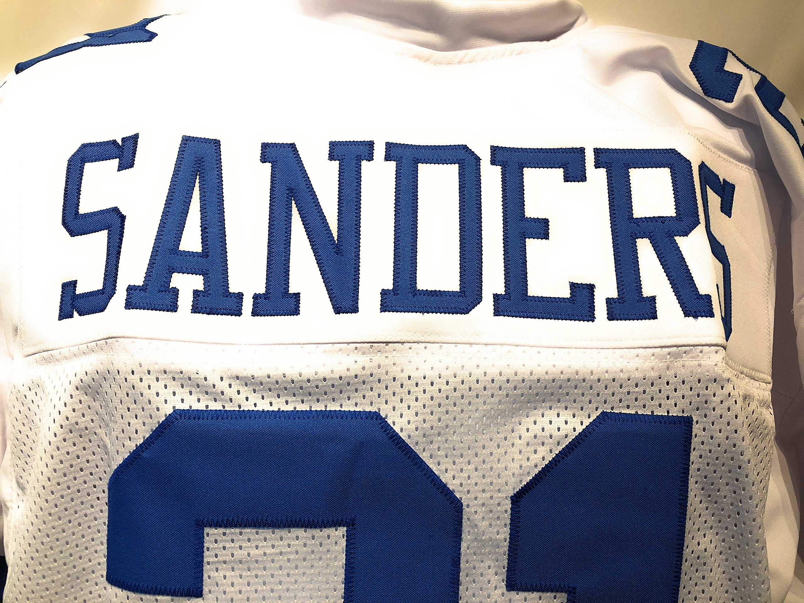 Deion Sanders Dallas Cowboys Signed Autograph White Custom Jersey Sanders GTSM Hologram Certified