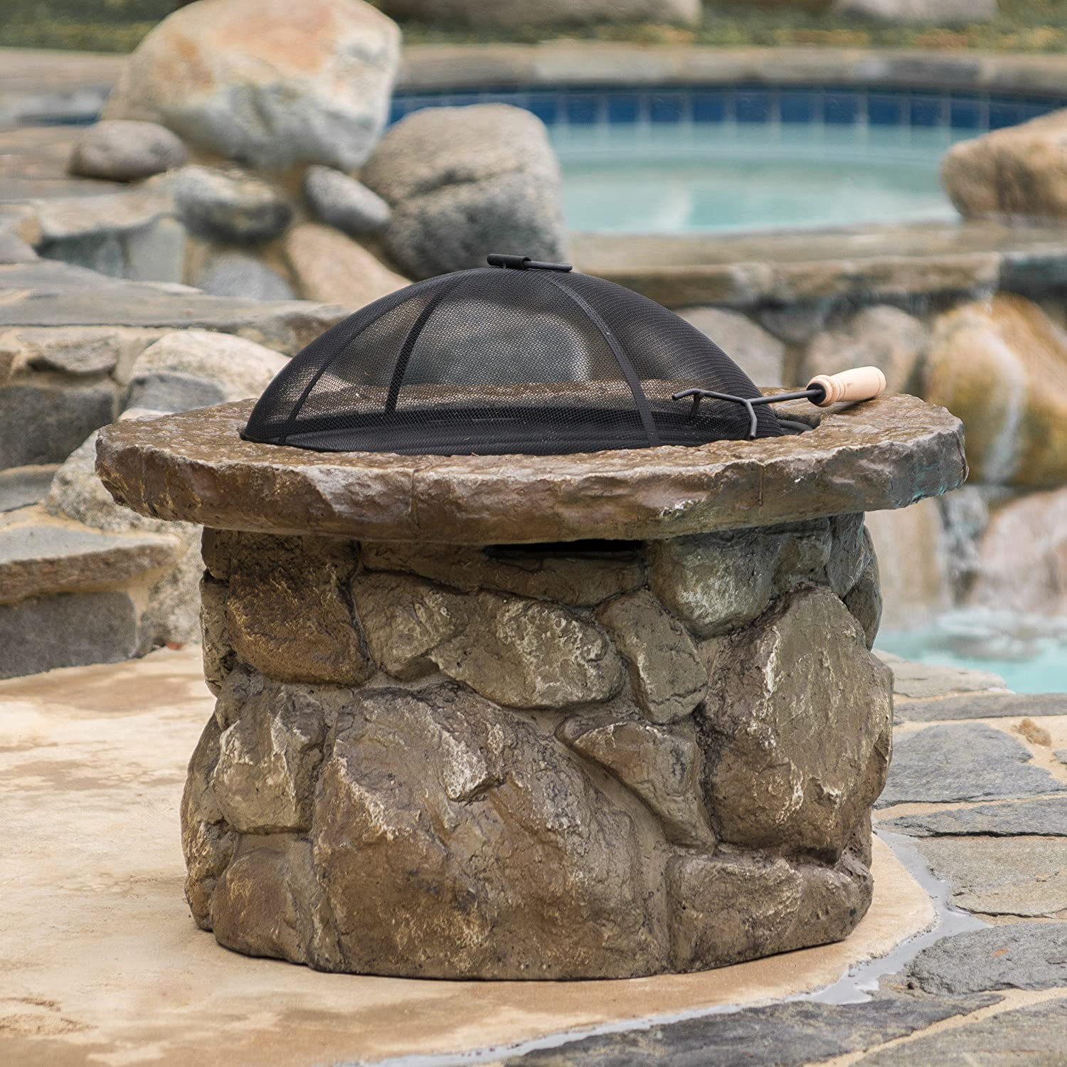 Amazon com great deal furniture taylor outdoor natural stone finish fire pit home improvement