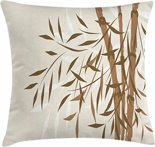 Amazon Com Lunarable Bamboo Throw Pillow Cushion Cover Bamboo Design With Soft Colors Chinese Culture Inspired Artwork Eastern Pattern Decorative Square Accent Pillow Case 26 X 26 Beige Brown Home Kitchen