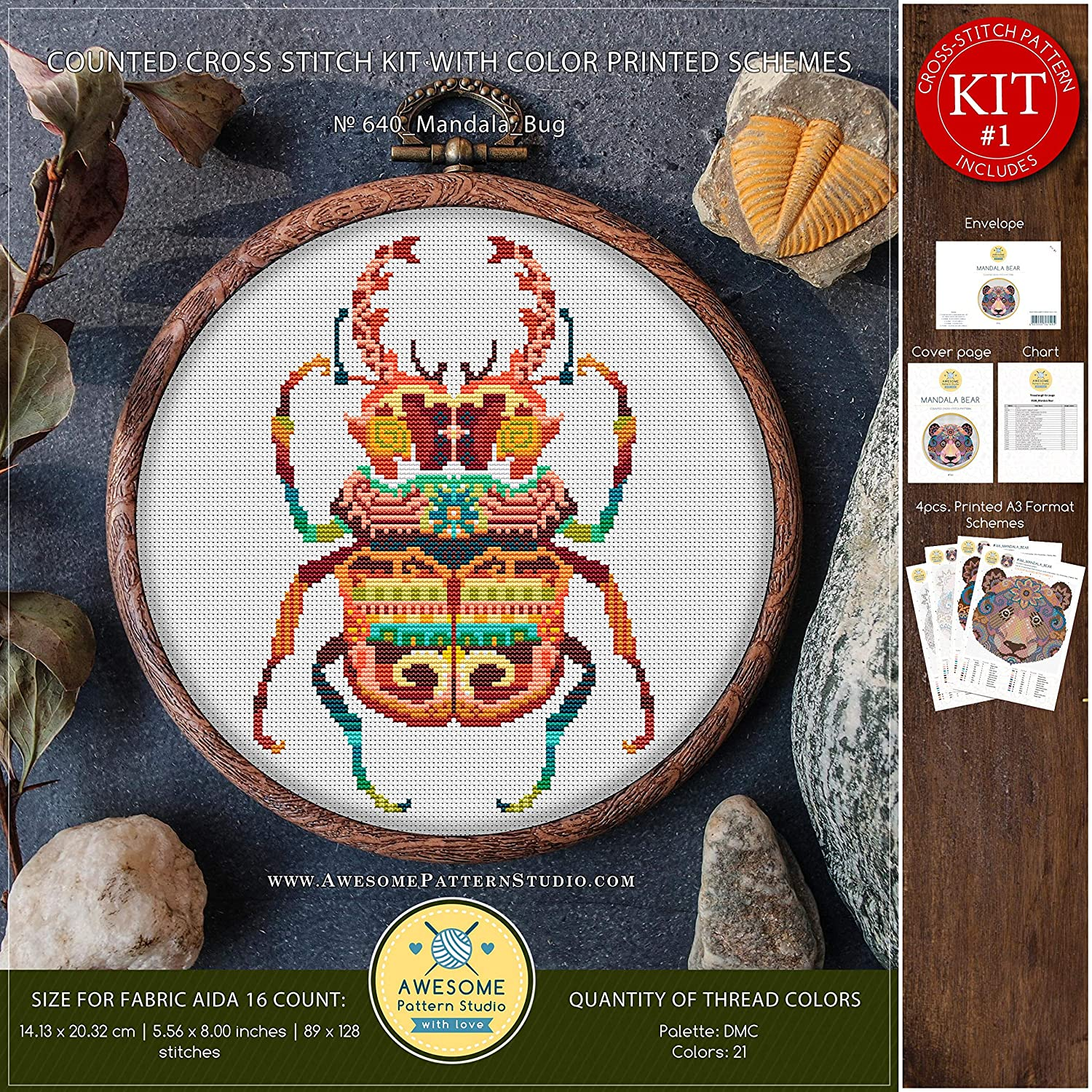 Mandala Bug #K640 Cross Stitch Embroidery Kit Funny Animals Cross Stitch Patterns Cross Stitch Embroidery Cross Stitch World Needlepoint