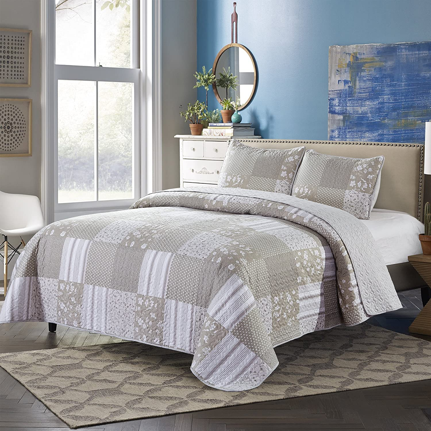 SLPR Silent Reverie 3-Piece Lightweight Printed Quilt Set (Queen