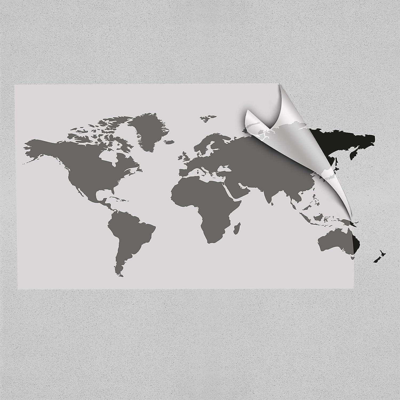 Einzigartig Wandtattoo Weltkarte Sammlung Von Farbe: Schwarz Größe: 125cm X 58cm Wandaufkleber