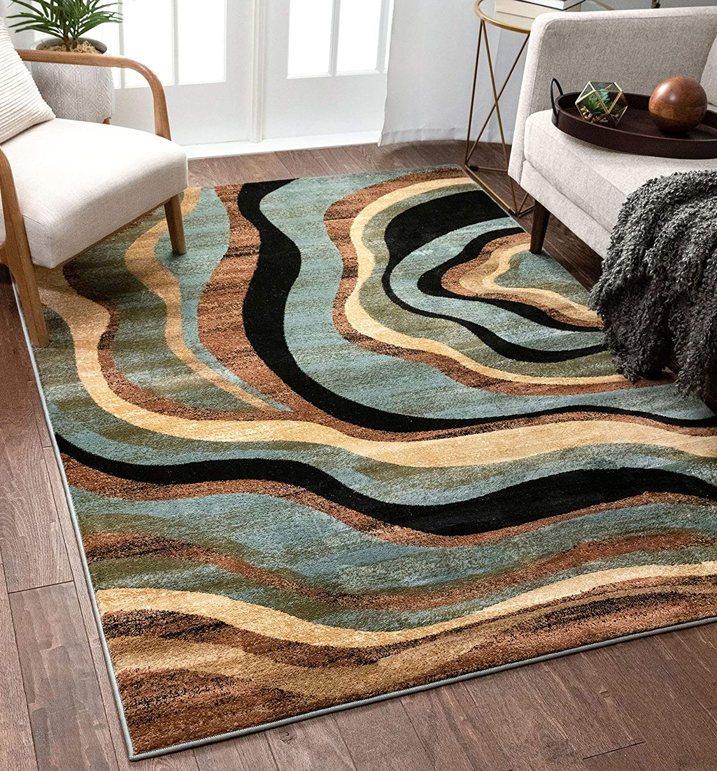 Amazon Com Hudson Waves Blue Brown Geometric Modern Casual Area Rug 7x10 6 7 X 9 6 Easy To Clean Stain Fade Resistant Shed Free Abstract Contemporary Natural Lines Multi Soft Living Dining